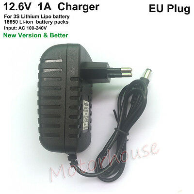 12.6V 1A 3S Li-ion 18650 11.1V Packs Lithium LiPo Battery Cell Charger Adapter