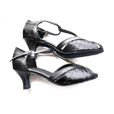 Very Fine Women's Salsa Ballroom Tango Dance Shoes #2707 Black Satin & Leather