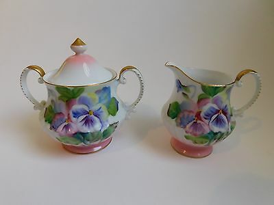 Takiro Handpainted Sugar Bowl and Creamer