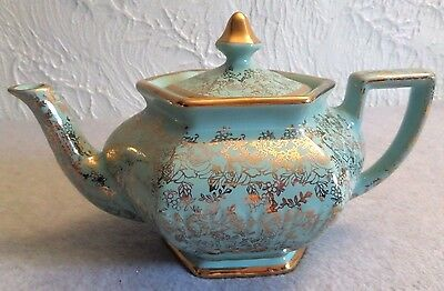 Arthur Wood and Sons Chintz Vintage Tea Pot with Gold Trim Made in England