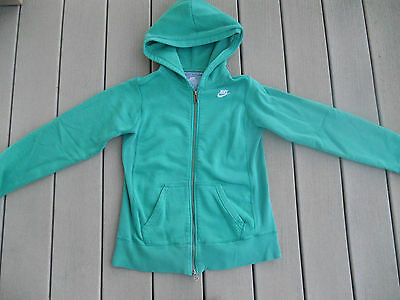 Nike Thick Heavy Youth Size 14 Green Zip Hoodie GUC