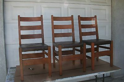 Antique Stickley Mission Oak Side Chairs, Vintage Arts & Crafts