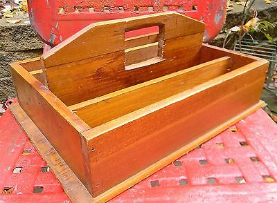 ANTIQUE Primitive WOOD Utensil CUTLERY TRAY Dividers HANDLE 19th Century Carry