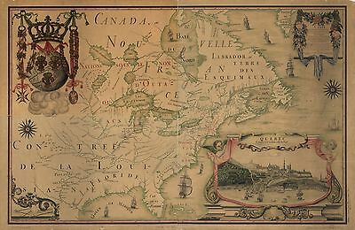 12x18 inch Reprint of Canadian Map Northern Usa