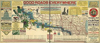 12x18 inch Reprint of USA City Towns States Map Custer Battlefield Highway Tour