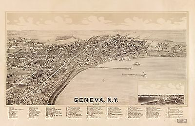 12x18 inch Reprint of American Cities Towns States Map Geneva Ny