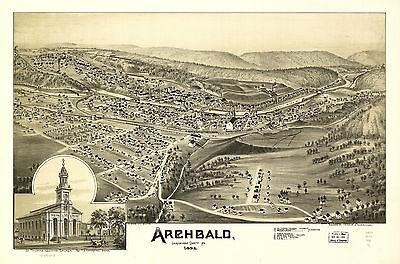 12x18 inch Reprint of American Cities Towns States Map Archbald Pennsylvania