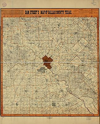 12x18 inch Reprint of American Cities Towns States Map Dallas County Texas
