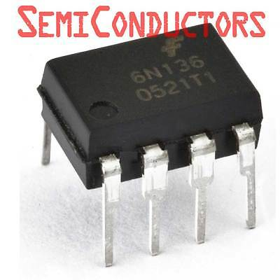 6N136 FAIRCHILD Optocoupler DC-IN 1-CH Transistor With Base DC-OUT 8-Pin PDIP