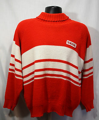 Yamaha knit Red White Stripe Sweater Fold Over Collar L-XL Vintage Made Canada