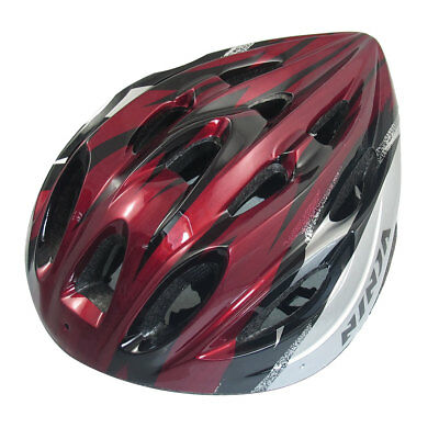 Skating Cycling Striped Helmet Black Red Silver Tone for Unisex