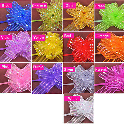 10pcs Organza Yarn Pull Bows Ribbons Wedding Party Flower Decoration Gift Wraps