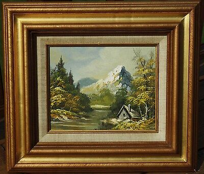 Original Framed Painting - Oil on Canvas - Cabin By River & Mountain