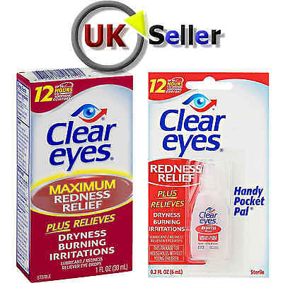 CLEAR EYES MAXiMUM REDNESS  RELIEF LUBRICATING EYE DROPS DRYNESS BURNING 6-15ML