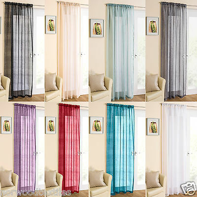 Casablanca Shimmer Effect Slot Top Rod Pocket Voile Panel Net Curtain Ready Made