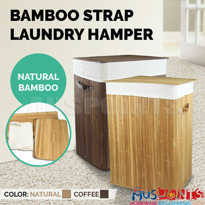 Bamboo Laundry Hamper Basket Wicker Clothes Storage Bag Sorter Bin Organizer Lid