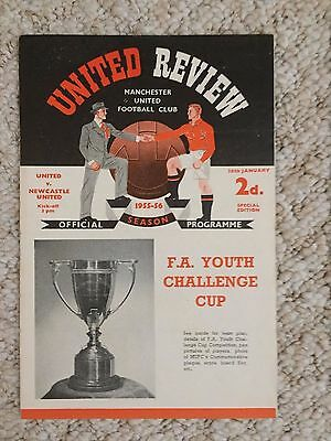 1955/56  Manchester United V  Newcastle United FA Youth Cup Football Programme