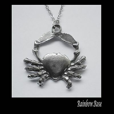Pewter Necklace ZODIAC #1526 CANCER (Jun 22 - July 22) 18mm x 27mm