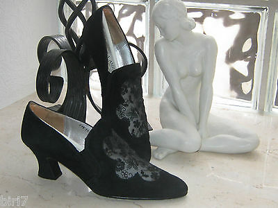 Laura Ashley Vintage Black Leather & Floral Mesh Court Shoes,4/37 (37.5)