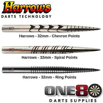 Harrows, Laser Cut Replacement Dart Points, New Steel Tip Darts Points, 3 Styles
