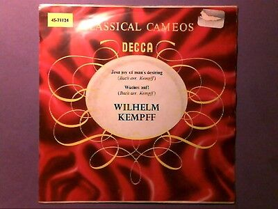 "Wilhelm Kempff - Jesu Joy Of Man's Desiring (7"" single) picture sleeve 71124"