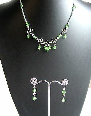 Unique Green Hand Made Glass Bead & Twisted Wire Necklace / Choker & Earring Set