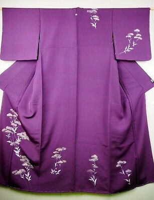 Vintage Ladies' Japanese Purple Silk Crepe Kimono/Robe/Tsukesage 'Flowers' M/L