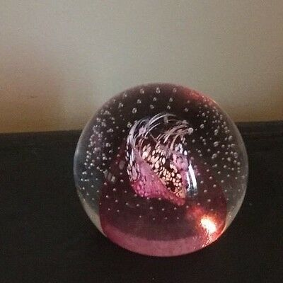 Large Vintage Caithness 'pink Champagne' Bubble Glass Paperweight