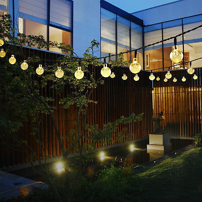 Outdoor 30 LEDs Solar String Lights Bubble Beads Garden Party Lights