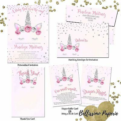 Unicorn pink silver floral Baby Shower Invitation Set personalized thank you