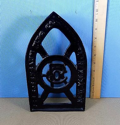 "Antique Cast Iron Ironing Trivet, X-Large, 10.5"" long, Rosenbaum MFG, NY, RARE"