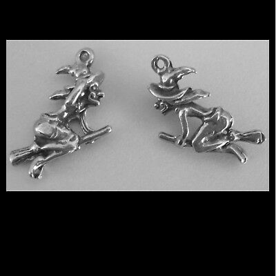 PEWTER CHARM #236 x 2 WITCH on broom 17mm x 13mm Witches