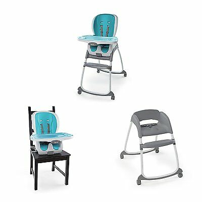 Ingenuity 3 in 1 Deluxe Booster Seat High Chair Smart Clean Trio Aqua Blue NEW