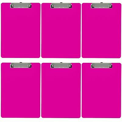 Plastic Clipboard Opaque Color Letter Size Low Profile Clip (Pack of 6) (Pink)