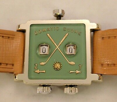Vintage Swiss Domatic Score Golf Watch Stroke Counter Leather Caddy Golf Sport