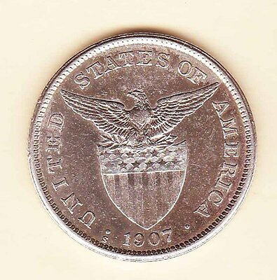 US Philippines 1907-S One Peso Silver Crown 1 peso #B1