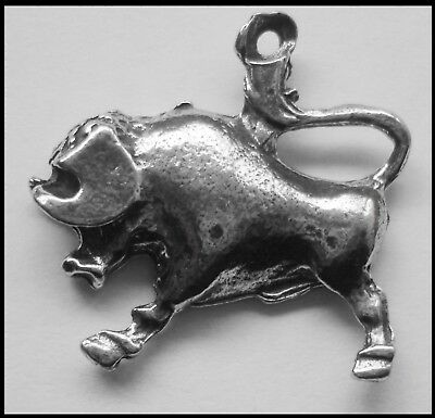 Pewter Charm ZODIAC #1534 TAURUS (Apr 20 - May 20) 26mm x 27mm