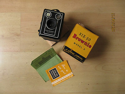 kodak brownie six 20 vintage camera with box, instructions and reciept