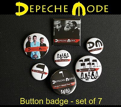 Depeche Mode - Button Badge Anstecker - Spirit - Revolution - Tour Set 7 Stück