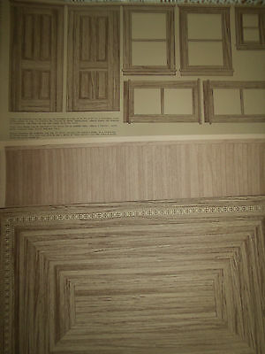 Dollhouse Wallpaper Diorama Rooms Flooring Wainscoting Windows Doors 3 Piece LOT