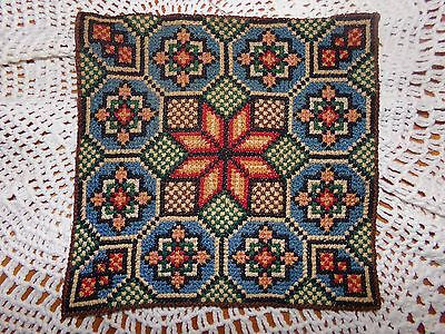 """Antique 19th Armenian Hand Silk Needlework Embroidery Chalice Cover 9"""" X 9"""" VGC"""