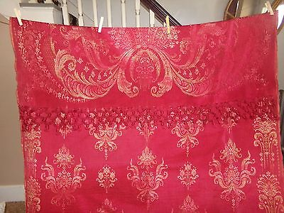 "Antique Victorian Era Late 1800's Jacquard Loom Portiere Burgundy Wine 45""X104"""