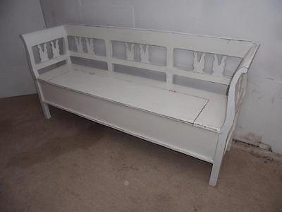 A Beautifully Painted White Antique Pine Shabby Chic 3 Seater Box Settle/Bench