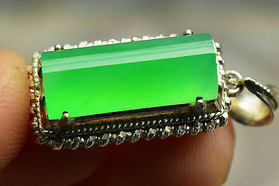 Natural Icy Green Jadeite Jade A Transparent Cabochon No Inclusion No Crack 2