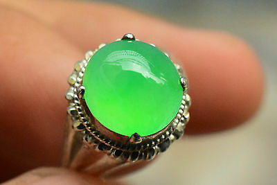 Natural Icy Green Jadeite Jade A Transparent Cabochon No Inclusion No Crack 1