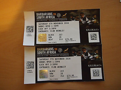 Two Ticket for the Barbarians vs South Africa at Wembley 2016