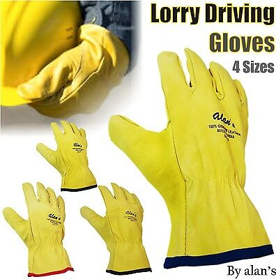 Lorry Drivers Genuine Leather Gloves Driving Glove Work Safety DIY Quality Safe