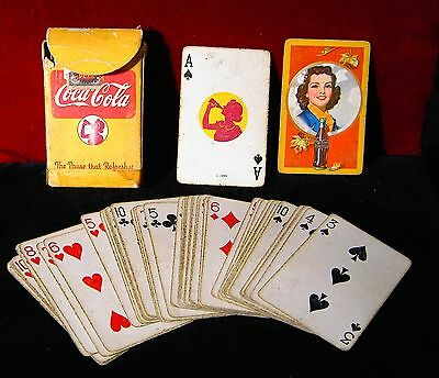 1943 Coca Cola Playing Cards The Pause That Refreshes coke autumn girl WWII era