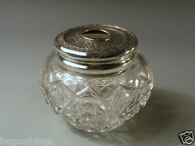 Antique Wallace Sterling Silver & Cut Glass HAIR RECEIVER DRESSER JAR