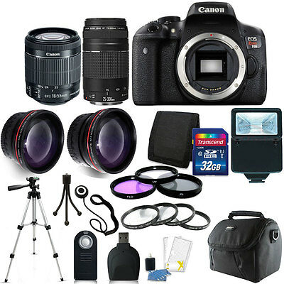 Canon EOS Rebel T6i DSLR Camera +18-55mm STM  75-300mm Lens 32GB Accessory Kit